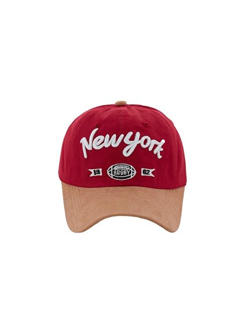 Laslusa Newyork Beyzbol Cap Şapka Bordo